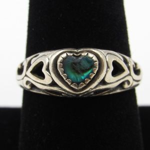 Vintage Size 9 Sterling Rustic Unknown Heart Ring